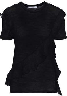 IRO Venwood Ruffle-Trimmed Slub Wool-Jersey T-Shirt