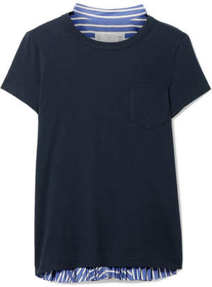 Sacai Cotton-jersey And Striped Cotton-poplin T-shirt - Navy