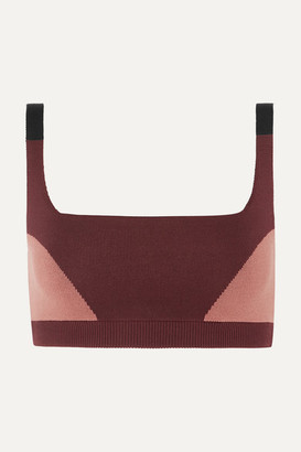 Nagnata - Color-block Technical Stretch-organic Cotton Sports Bra - Burgundy