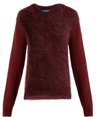 MiH Jeans Dawes Contrast Panel Wool Blend Sweater - Womens - Burgundy