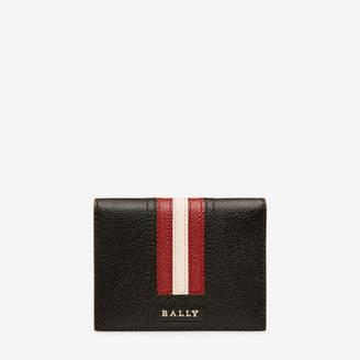 Bally Talder Black, Men's embossed bovine leather card holder in black