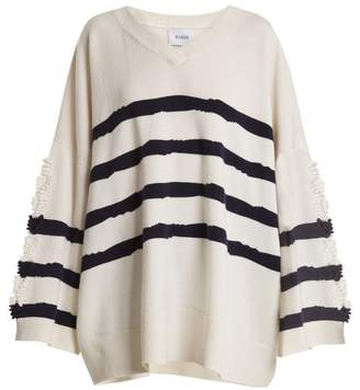 Barrie - Fancy Coast Oversized Cashmere Sweater - Womens - White Navy