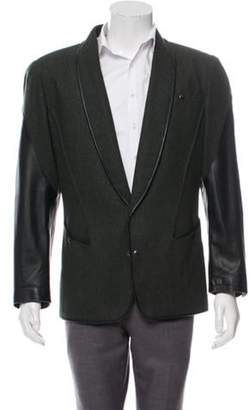 Thierry Mugler Leather-Trimmed Shawl-Collar Tuxedo Jacket green Leather-Trimmed Shawl-Collar Tuxedo Jacket