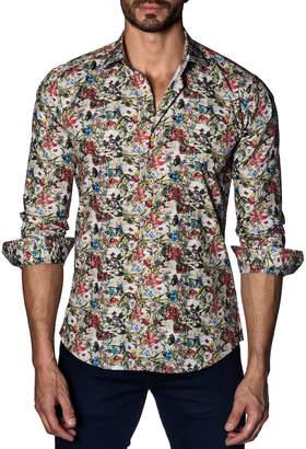Jared Lang Men's Semi-Fitted Rustic-Floral Sport Shirt