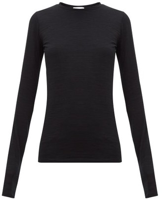 Raey Long Sleeved Slubby Cotton Jersey T Shirt - Womens - Black