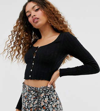 Miss Selfridge Petite long sleeved rib t-shirt with button through detail in black