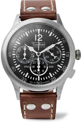 Techne Watches Merlin 296 Stainless Steel And Leather Watch