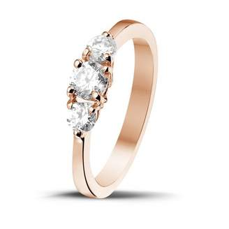 Trilogy 3djewels 0.67 Cts Round D/VVS1 Diamond Three Stone Ring in 14K Gold Plated