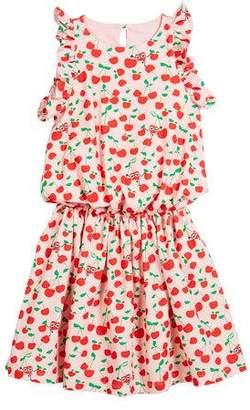 Fendi Cherry-Print Sleeveless Ruffle Dress, Size 10-12