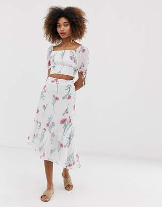 9024a0c2f1 Neon Rose asymmetric midi skirt in vintage floral co-ord