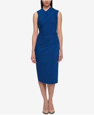 Dkny Ruched Jersey Midi Sheath Dress $169 thestylecure.com
