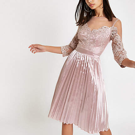 Womens Chi Chi London Pink lace mesh flare dress