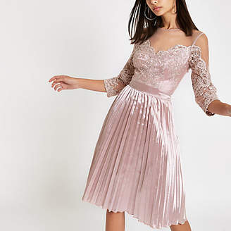 River Island Chi Chi London pink lace mesh flare dress
