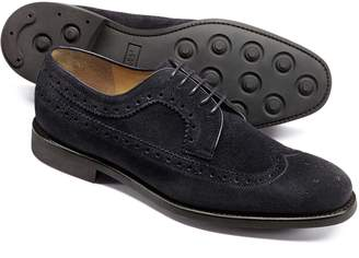Charles Tyrwhitt Dark Navy Suede Goodyear Welted Derby Wing Tip Brogue Shoes Size 11.5
