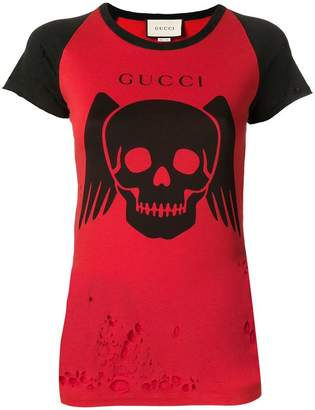 Gucci ripped contrast graphic T-shirt