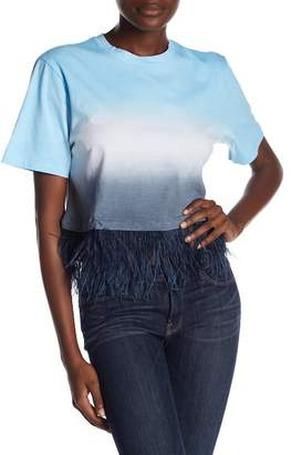 Opening Ceremony Dip Dye Genuine Ostrich Feather Tee