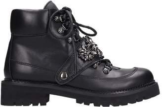 Bibi Lou Black Leather Combatc Boots