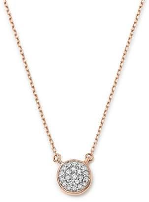 """Adina 14K Rose Gold Pavé Diamond Disc Necklace, 15"""""""