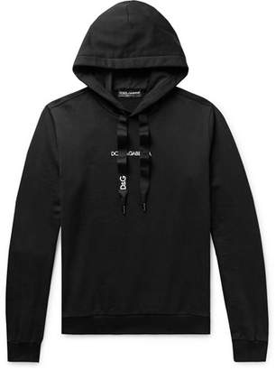 Dolce & Gabbana Slim-Fit Logo-Embroidered Loopback Cotton-Jersey Hoodie - Men - Black