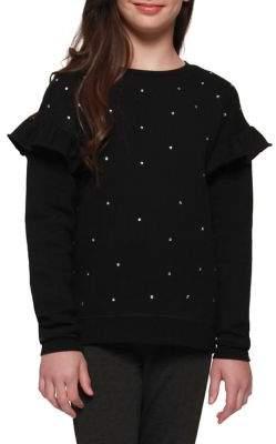 Dex Girls Shoulder-Accent Embellished Sweater