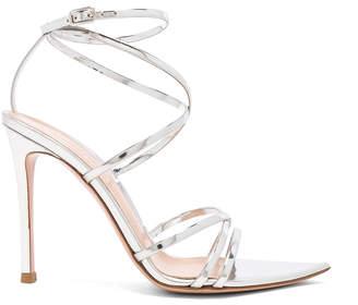Gianvito Rossi Metallic Leather Kim Cross Strap Sandals