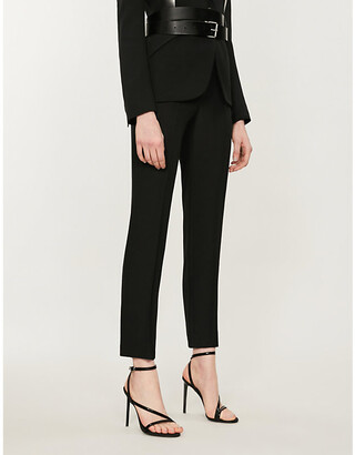 Alexander McQueen Mid-rise crepe tapered trousers
