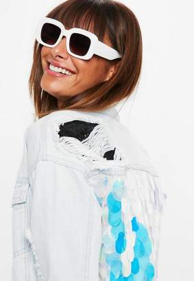 Missguided White Chunky Frame Sunglasses