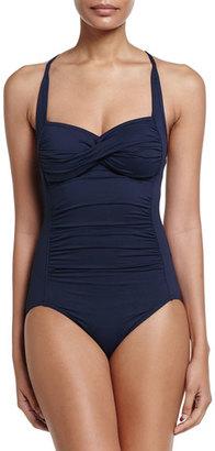 Seafolly Goddess Twist Halter One-Piece Swimsuit, Indigo $143 thestylecure.com