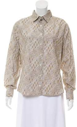Lorenzini Printed Long Sleeve Button-Up