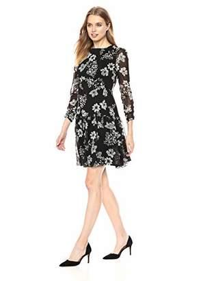 ML Monique Lhuillier Women's Drop Waist Printed Chiffon Dress
