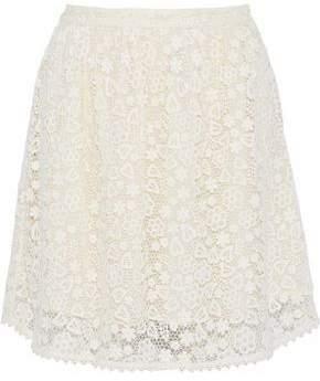 RED Valentino Cotton Guipure Lace Mini Skirt