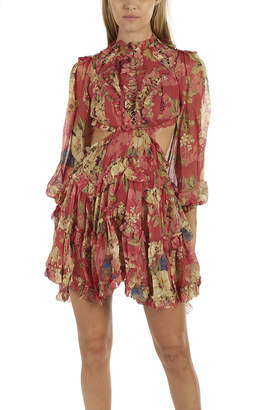 Zimmermann Melody Lace Up Short Dress