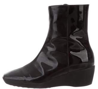 Aquatalia Patent Leather Wedge Boots Black Patent Leather Wedge Boots