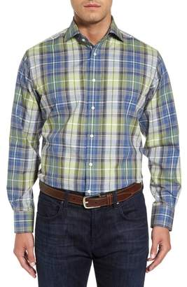 Thomas Dean Regular Fit Plaid Sport Shirt