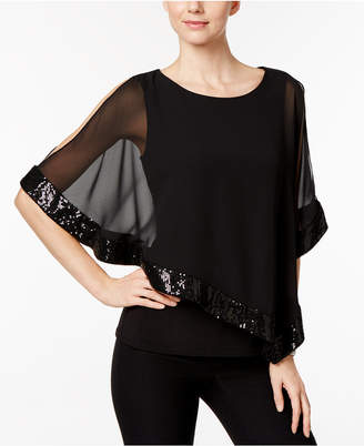 MSK Sequined Chiffon Asymmetrical Blouse $69 thestylecure.com