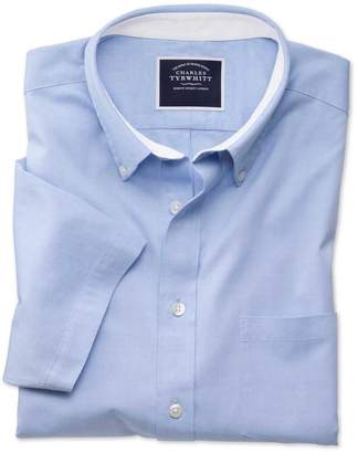 Slim Fit Button-Down Washed Oxford Short Sleeve Sky Blue Cotton Casual Shirt Single Cuff Size Large by Charles Tyrwhitt