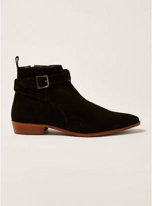Topman Mens Black Suede Trail Buckle Boots