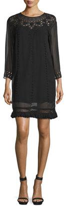 Joie Agatha Laser-Cut Crepe Shift Dress, Caviar $398 thestylecure.com