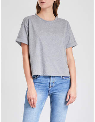 Claudie Pierlot Take Away knitted cotton-jersey and silk T-shirt