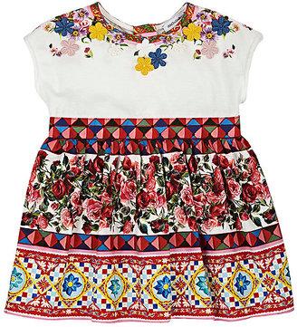 Dolce & Gabbana Appliquéd Mambo-Print Cotton Dress $315 thestylecure.com