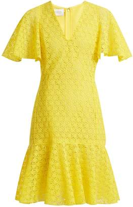 Giambattista Valli V-neck floral macramé-lace cotton-blend dress