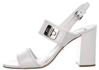 Prada Leather Mid-Heel Sandals