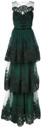 Marchesa soutache embroidered tiered gown