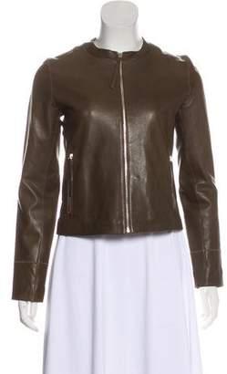 Massimo Dutti Cropped Leather Jacket