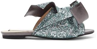 No.21 NO. 21 Bow-front glittered-leather slides