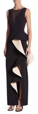 Nero by Jatin Varma Solid Illusion Neck Dress $995 thestylecure.com
