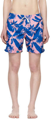 Bather Pink and Blue Tropical Palms Swim Shorts