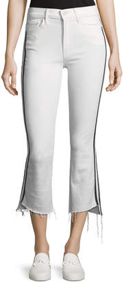 Mother Insider Crop Step-Fray Straight-Legs Jeans W/ Racing Stripes