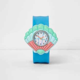 River Island Girls Blue shell snap on watch