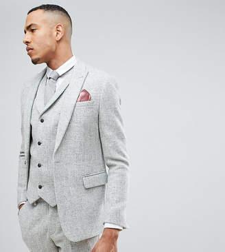 Asos DESIGN TALL Slim Suit Jacket in 100% Wool Harris Tweed In Light Gray